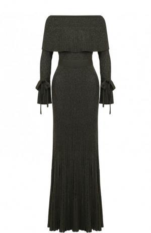 Вязаное платье-макси с поясом Elie Saab. Цвет: темно-зеленый