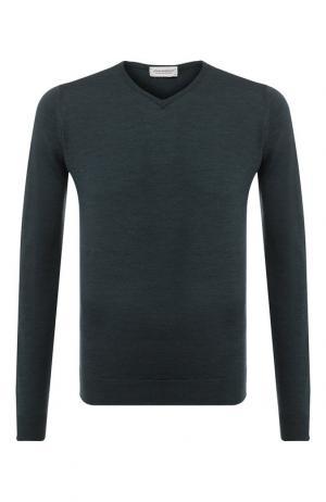 Пуловер из шерсти тонкой вязки John Smedley. Цвет: темно-зеленый