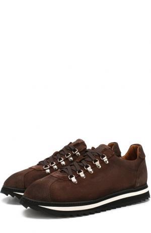 Замшевые кроссовки на шнуровке Doucals Doucal's. Цвет: коричневый