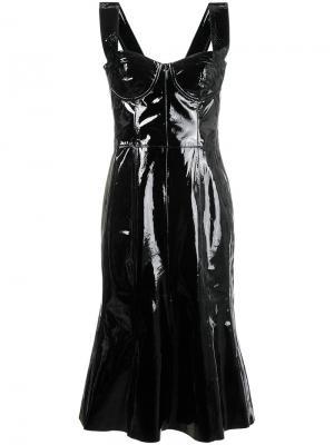 Корсетное платье-миди из лакированной кожи Natasha Zinko. Цвет: чёрный