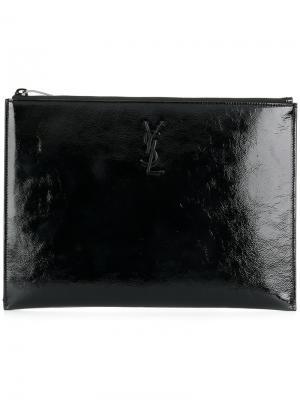 Лакированный чехол для планшета Saint Laurent. Цвет: чёрный