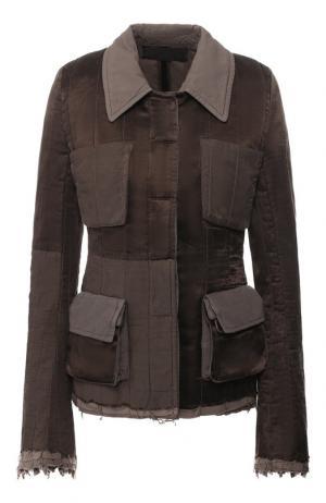 Приталенная куртка с накладными карманами Haider Ackermann. Цвет: коричневый