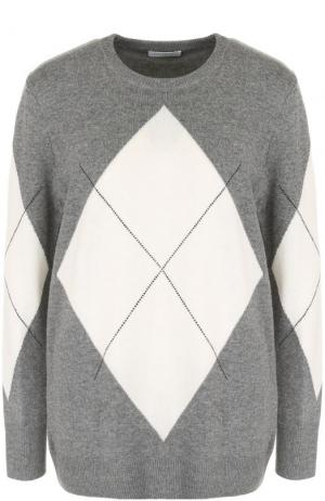 Пуловер прямого кроя с круглым вырезом и принтом Equipment. Цвет: серый