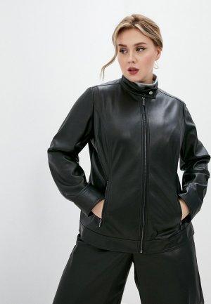 Куртка кожаная Persona by Marina Rinaldi. Цвет: черный