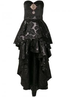 Платье-бюстье с двухслойной юбкой Christian Pellizzari. Цвет: чёрный