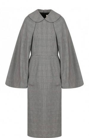 Приталенное шерстяное платье-миди Comme des Garcons. Цвет: серый