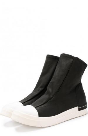 Высокие кожаные кеды без шнуровки с контрастным мысом Cinzia Araia. Цвет: черный