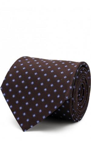Шелковый галстук с узором Canali. Цвет: коричневый