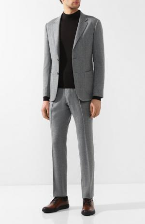 Шерстяной костюм с пиджаком на двух пуговицах Z Zegna. Цвет: серый