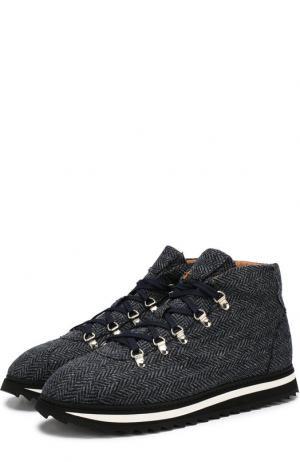 Текстильные ботинки на шнуровке Doucals Doucal's. Цвет: темно-синий