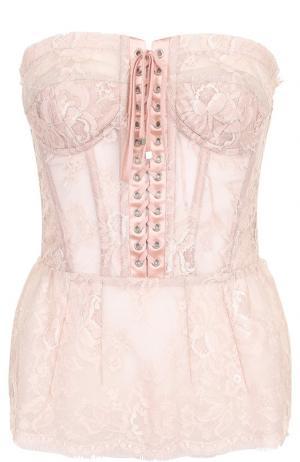 Кружевной топ-бюстье со шнуровкой Dolce & Gabbana. Цвет: бежевый