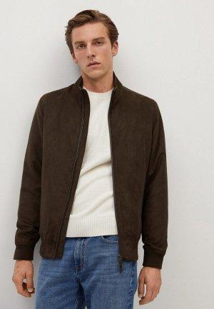 Куртка кожаная Mango Man. Цвет: коричневый