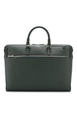 Кожаная сумка для ноутбука Evoluzione с плечевым ремнем Serapian. Цвет: темно-зеленый