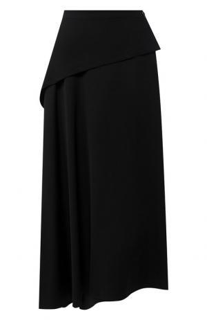 Юбка-миди из шерсти Yohji Yamamoto. Цвет: черный