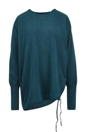 Однотонный хлопковый пуловер свободного кроя Roque. Цвет: темно-зеленый