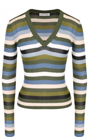 Пуловер с V-образным вырезом в полоску Altuzarra. Цвет: хаки