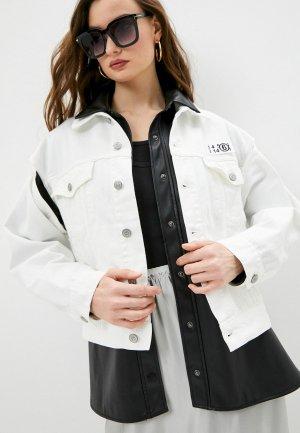 Куртка джинсовая MM6 Maison Margiela. Цвет: белый
