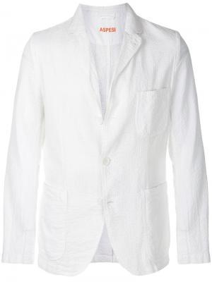 Фактурный пиджак Aspesi. Цвет: белый
