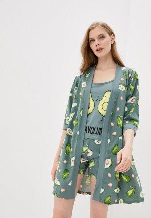 Халат, топ и шорты Dansanti. Цвет: зеленый