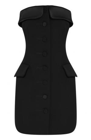 Шерстяное мини-платье на пуговицах Alexander Wang. Цвет: черный