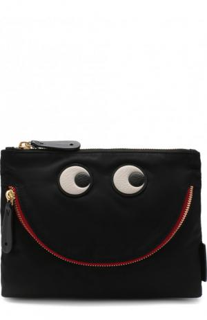 Текстильная косметичка Happy Eyes Anya Hindmarch. Цвет: черный