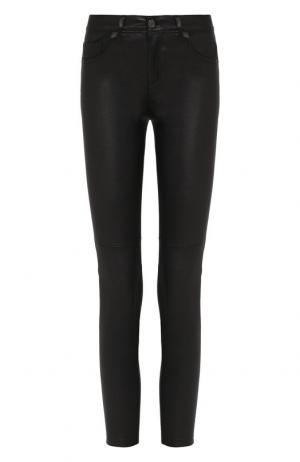 Кожаные брюки прямого кроя Current/Elliott. Цвет: черный
