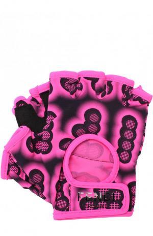 Текстильные перчатки для фитнеса с принтом Fendi. Цвет: фуксия