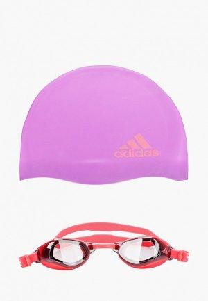 Шапочка и очки для плавания adidas. Цвет: разноцветный