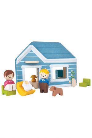 Набор с уютным домиком Plan Toys. Цвет: голубой