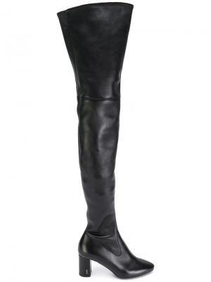 Ботфорты с миндалевидным носком Saint Laurent. Цвет: чёрный