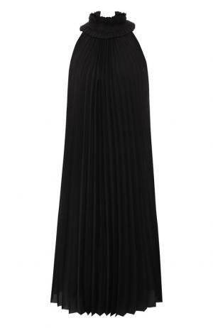 Плиссированное платье-миди из шелка Haider Ackermann. Цвет: черный