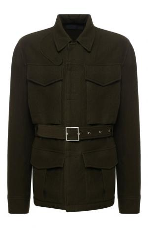 Шерстяной пиджак с поясом Haider Ackermann. Цвет: хаки