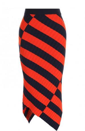 Вязаная юбка-карандаш асимметричного кроя Altuzarra. Цвет: оранжевый