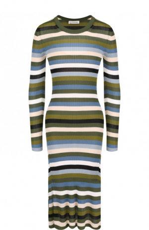Приталенное платье-миди с круглым вырезом в полоску Altuzarra. Цвет: хаки