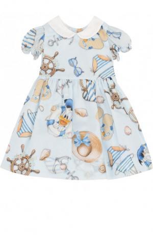 Хлопковое платье с принтом Monnalisa. Цвет: голубой