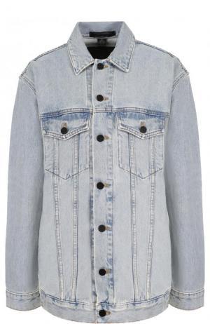 Джинсовая куртка свободного кроя с потертостями Denim X Alexander Wang. Цвет: светло-голубой