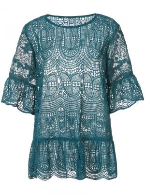 Кружевная блузка Anna Sui. Цвет: синий