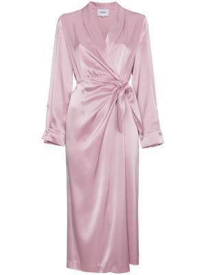 Платье с запахом Ezra Nanushka. Цвет: розовый и фиолетовый