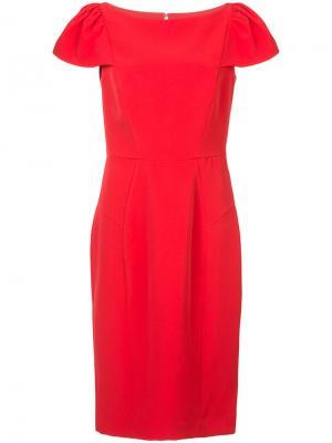 Платье со структурированными плечами Milly. Цвет: красный