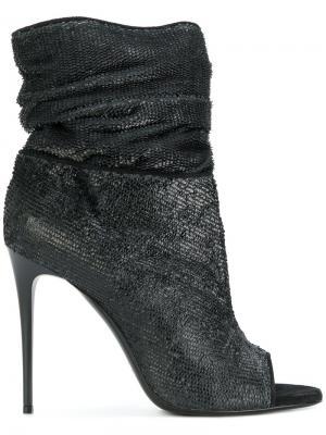 Ботильоны на каблуке с открытым носком Deimille. Цвет: чёрный