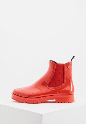 Резиновые полусапоги Trussardi Jeans. Цвет: красный