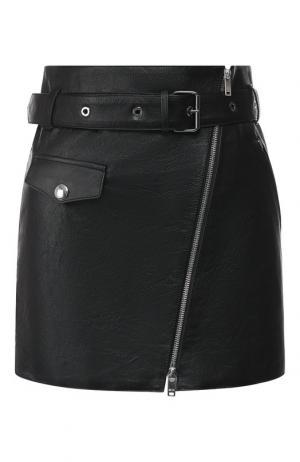 Кожаная мини-юбка с поясом Sonia Rykiel. Цвет: черный
