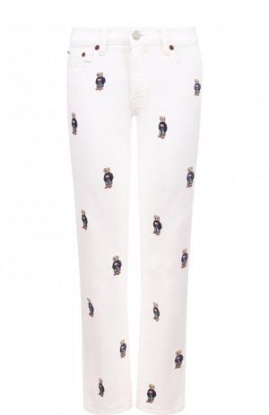 Укороченные джинсы с декоративной вышивкой Polo Ralph Lauren. Цвет: белый