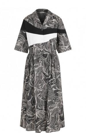 Хлопковое платье-миди с принтом Dries Van Noten. Цвет: черный