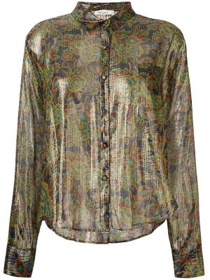 Рубашка с цветочным принтом Mes Demoiselles. Цвет: зелёный