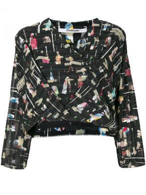 Блузка с запахом и графическим рисунком Chalayan. Цвет: чёрный