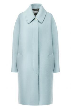 Шерстяное пальто свободного кроя Dries Van Noten. Цвет: бирюзовый
