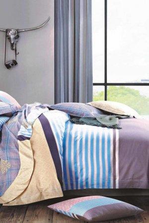 Постельное белье Евро Jardin. Цвет: голубой