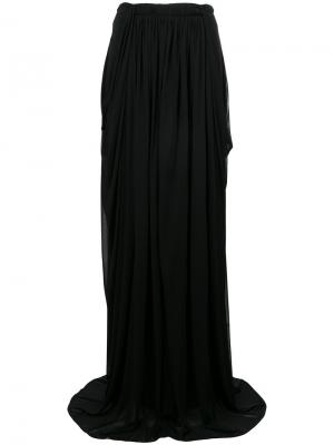 Прозрачная присборенная юбка-макси Antonio Berardi. Цвет: чёрный