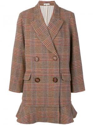 Двубортный пиджак в клетку Manoush. Цвет: коричневый